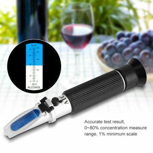 Refraktometer Werkzeug Wein Winzer Alkohol Gehalt Prüfgerät 0-80% Alkoholmeter