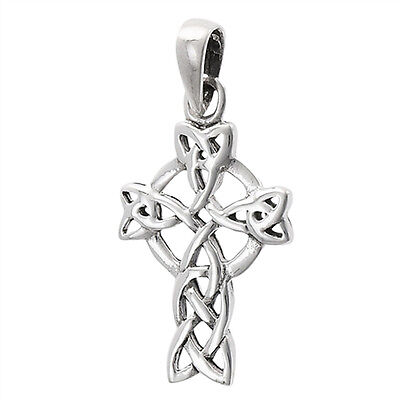 Celtic Cross Pendant .925 Sterling Silver Circle Viking Twisted Medieval Charm Twisted Cross Charm Pendant
