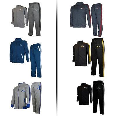 fcce587b92d2 X-2 Mens Athletic Full Zip Fleece Tracksuit Jogging Gym Sweatsuit Activewear