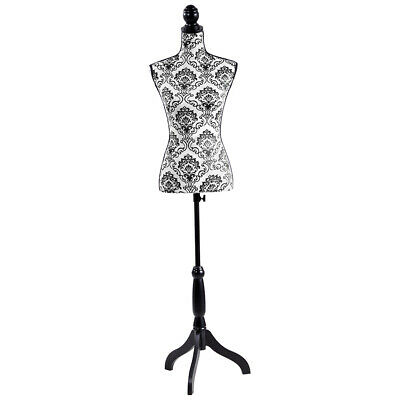 Mannequin Torso Dress Form With Black Adjustable Tripod Stand Dress Jewelry