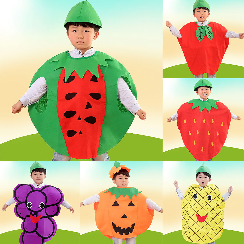 2c4881a95a9ccf Girls Boys Children Fruit Vegetable Cosplay Performance Fancy Dress ...