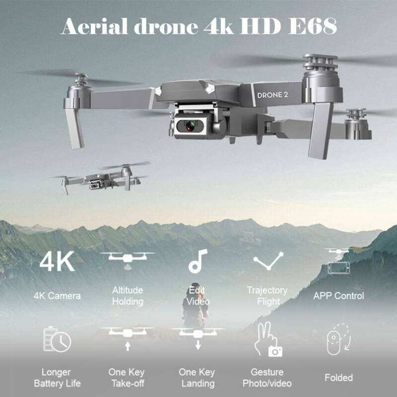 E68 RC Drone + 4K HD Wide Angle Camera Wifi 1080P FPV Live Video Quadcopter UK