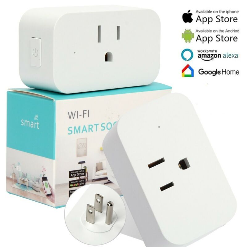 WiFi Smart Plug Works with Amazon Alexa - 3 prong Single Socket White USA