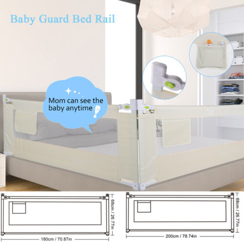 """71""""/79"""" Foldable Toddler Bed Rail Baby Crib Side Safety Guar"""