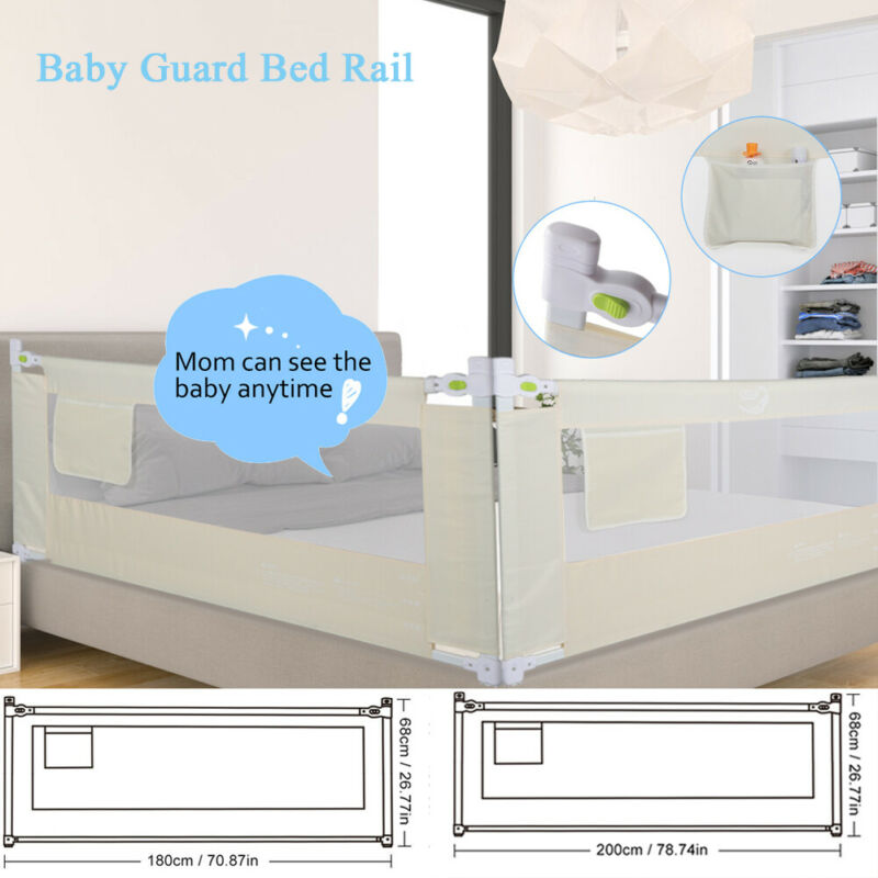 "71""/79"" Foldable Toddler Bed Rail Baby Crib Side Safety Guard Kid Infant Bedrail"