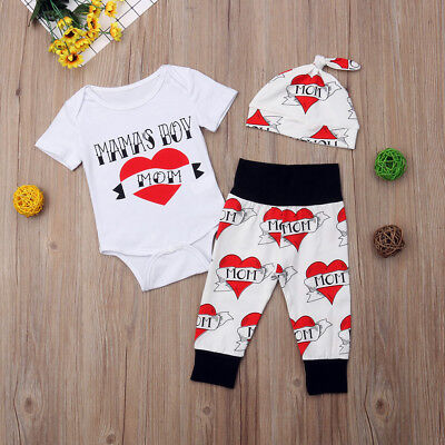 NWT 'Mama's Boy' Bodysuit Pants & Hat Baby Valentine's Day Outfit - Toddler Boy Valentine Outfit