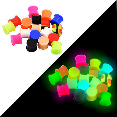 Pair Glow in the Dark Soft Silicone Solid Double Flared Ear Tunnel Plugs 2g-3/4