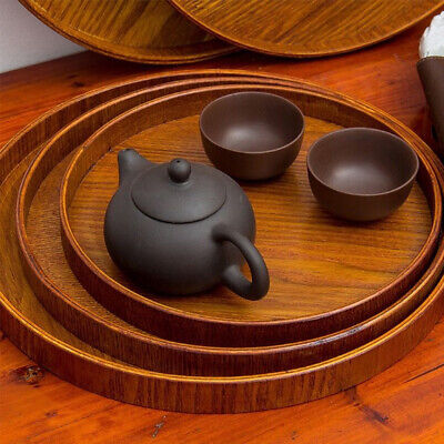 Natural Wood Serving Tray Wooden Plate Tea Round Food Server Coffee Dish -
