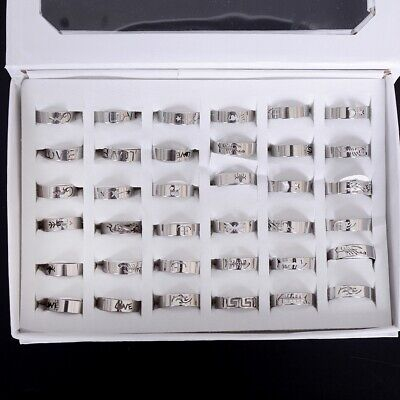 50/100Pcs Silver Stainless Steel Rings Wholesale Bulk Lots Men Women Jewelry USA (Wholesale Stainless Steel Rings)