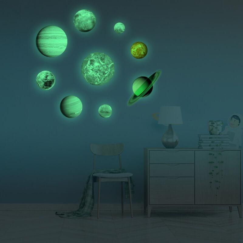 9 planet luminous glow in the dark moon wall sticker kids baby