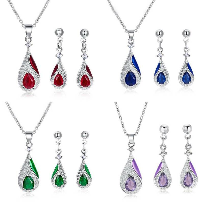 925 Silver Crystal Pendant Necklace Earrings Ring for