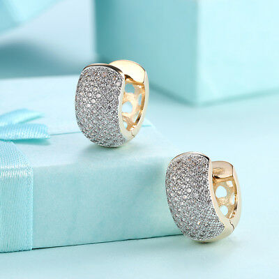 14K Gold Plated Half Hoop Pave Clear Huggie Earrings Made with Swarovski Crystal