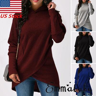 Women Long Sleeve Hoodie Sweatshirt Sweater Hooded Jumper Coat Pullover Tops USA