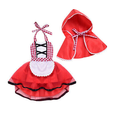 Little Girls Fairy Dresses (Halloween Little Red Riding Hood Fairy Tale Fancy Baby Girls Cosplay Dress)