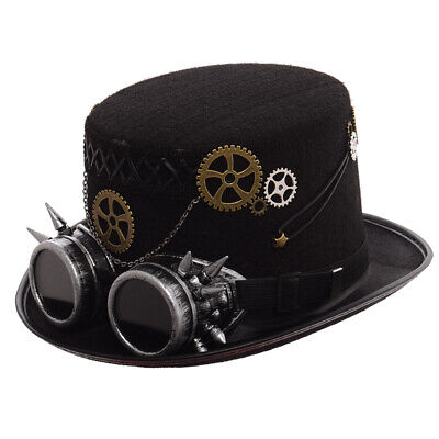 Vintage Steampunk Victorian Top Hat With Goggles Halloween Cosplay Costume - Steampunk Top Hat