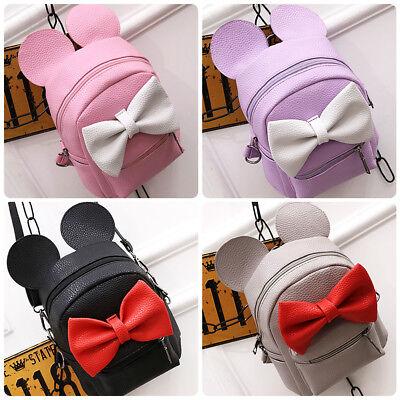 Minnie Mouse Mini Backpack Mickey Ear Bow Girls School Bag Cartoon Shoulder Bags - Mini Mouse Ears