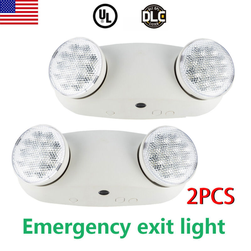 2Pack Double Heads LED Home Office Market Exit Sign Emergency Lighting Lamp UL
