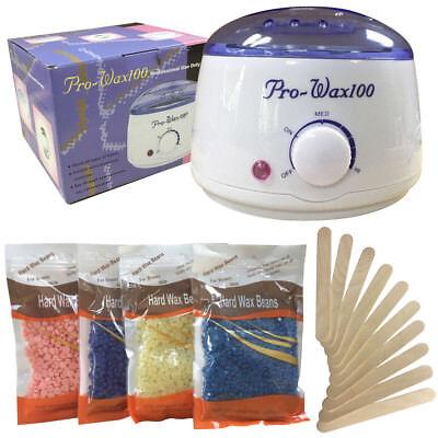 Wax Warmer, Wax Hair Removal Kit + Hard Wax Beans + 10 Wax Applicator Sticks wax