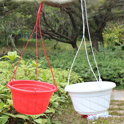 Plastic Round Hanging Basket Flower Pot Garden Decoration Plant Chain Planters -