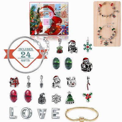 Jewelry Advent Calendar Christmas Countdown Charms Bracelet DIY Fashion Necklace
