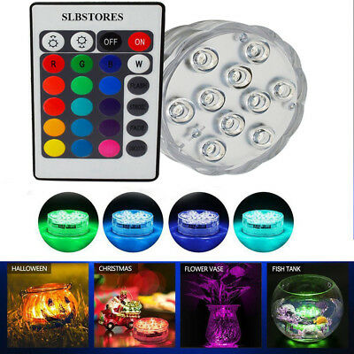 Submersible 10 LED Waterproof Light RGB for Vase Wedding Party Fish Tank Decors - Vase Decorations