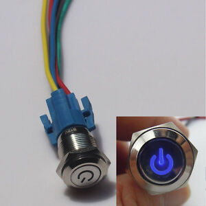 HS 16mm 12V Car Blue LED Metal Push Button Toggle Switch Socket Plug For Car