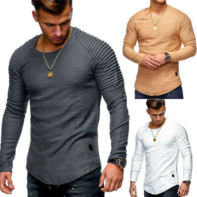 Behype Herren Pullover Oversize Sweatshirt Longline T-Shirt Biker Longsleeve NEU