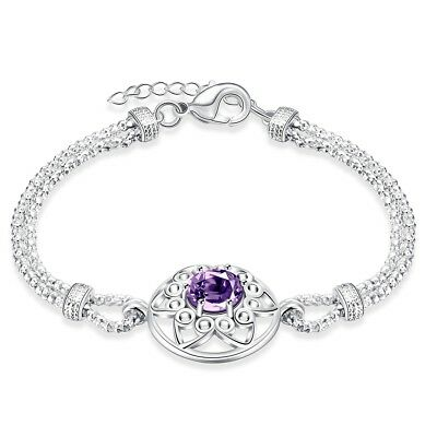 Amethyst Center stone Bracelet in 18K White Gold Plated Made with Swarovski Crys
