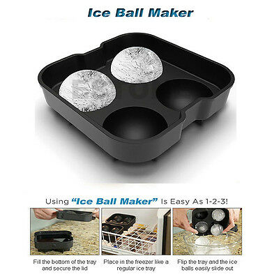 Silicon Whiskey Ice Cube Ball Maker Mold ...