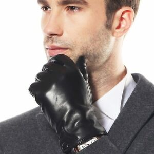 Mens-GENUINE-LAMBSKIN-motorcycle-driving-leather-gloves