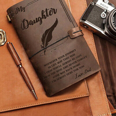 A6 Vintage Leather Journal Notebook Travel Diary To My Daughter Love Dad/Mom UK
