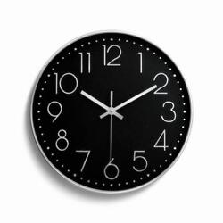 12 30cm Fashion Wall Clock Large Digital Silent Non Ticking Silver & Black US