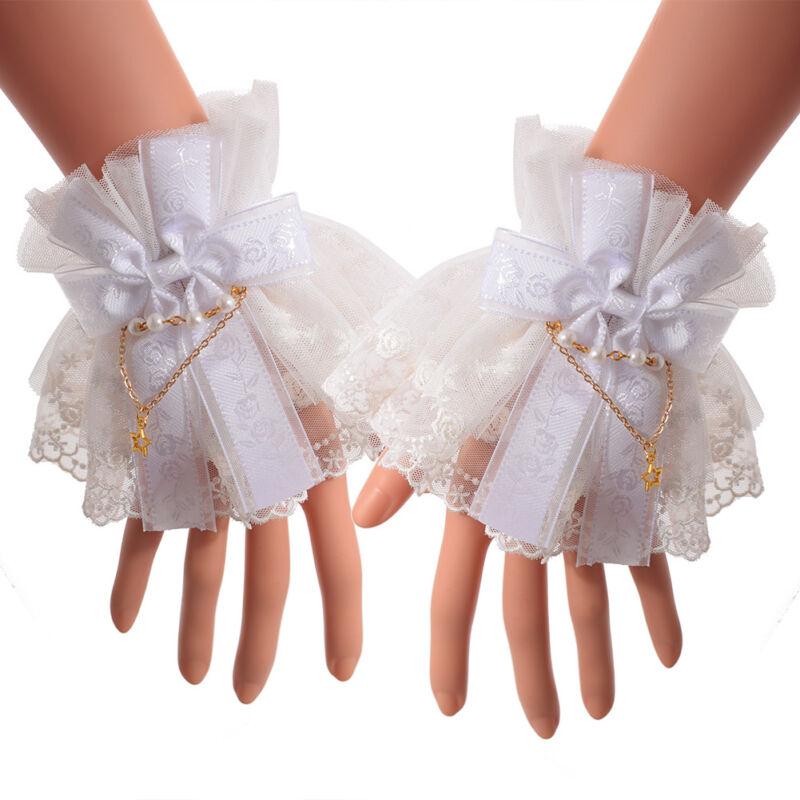 Lolita Victorian Style Lace Cuffs Wrist Cuff with Tulle Steampunk Cuffs 2 Colors