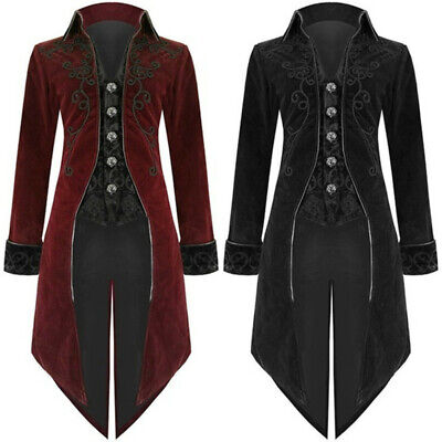 Mens Medieval Jacket Pirate Costume Tailcoat Renaissance Gothic  Victorian Coat](Gothic Pirate Costume)