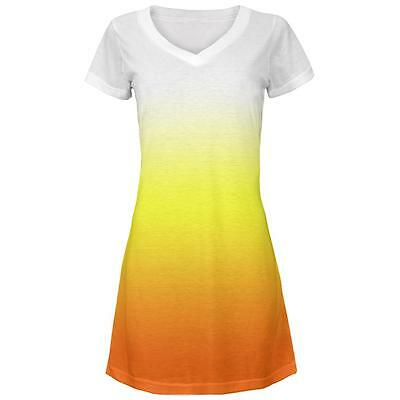 Halloween Candy Corn Ombre Costume All Over Juniors Beach Cover-Up Dress