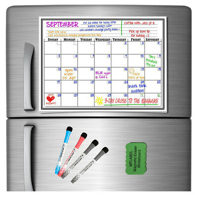 """17"""" x 11"""" Magnetic Refrigerator Calendar Monthly Dry Erase Board Flexible White"""