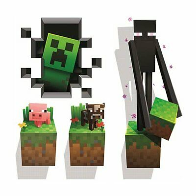 Cow Decor - Minecraft Wall Decal Room Creeper Cow Endeman Removable Sticker Decor Decoration