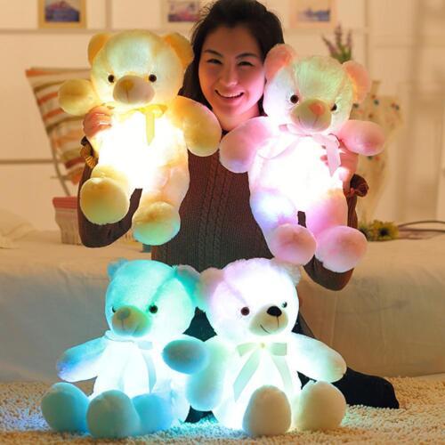LED Light Up Colorful Bear Kids Adult Stuffed Animals Baby P
