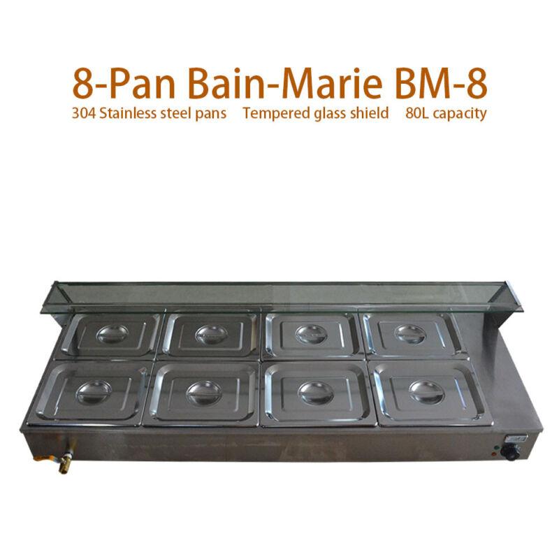 Food Warmer 8-Pan Buffet Steam Table Bain-Marie Restaurant Commercial 110V New