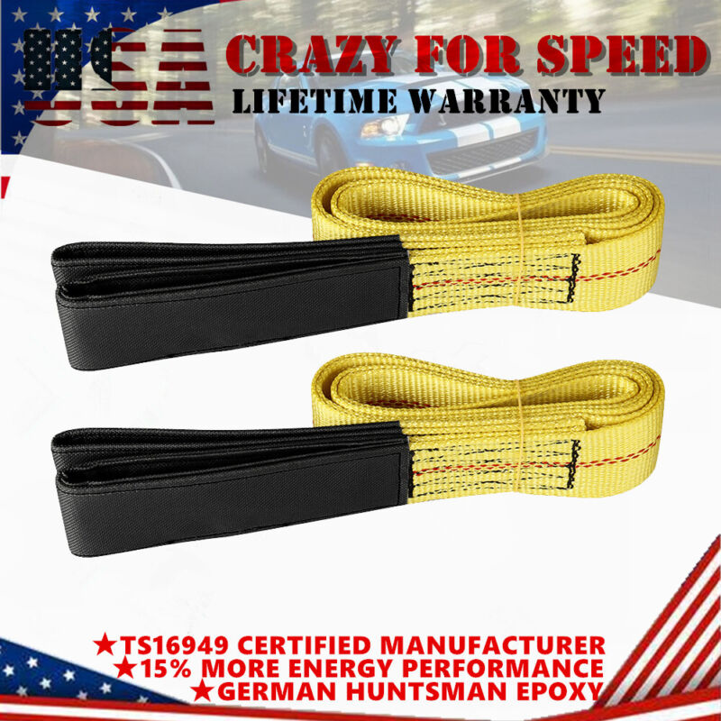 2PCS 6ft x 2in Lifting Sling Straps with Heavy Duty Flat Loops 10000Lbs Nylon US