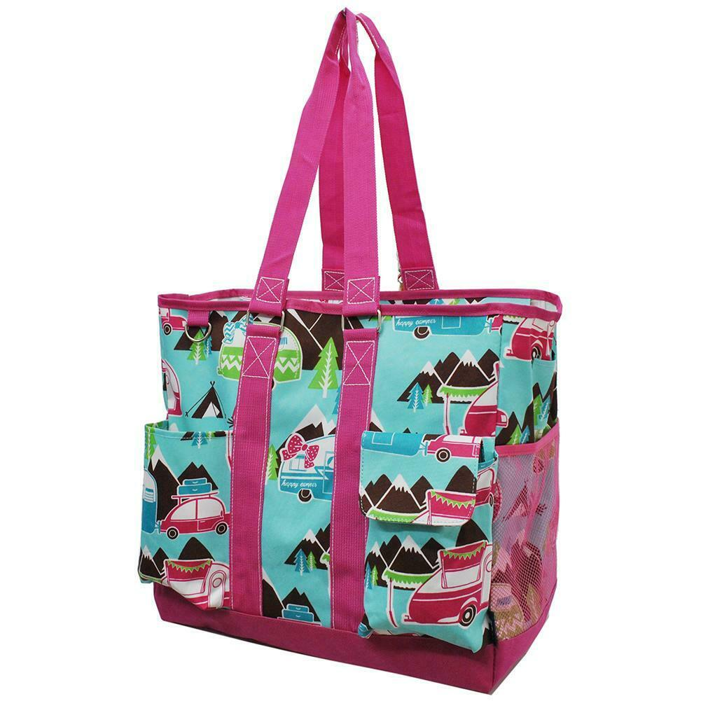 Canvas Happy Camper Pink NGIL Zippered Caddy Organizer Tote