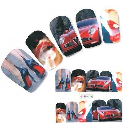 Tattoo Nail Art Rotes Auto Aufkleber Nagel Sticker Nägel Fuß Water Decal