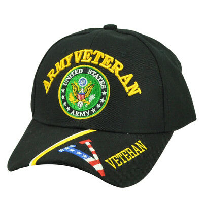 United States US Army Veteran Military Black Hat Cap Adjustable Striped Visor