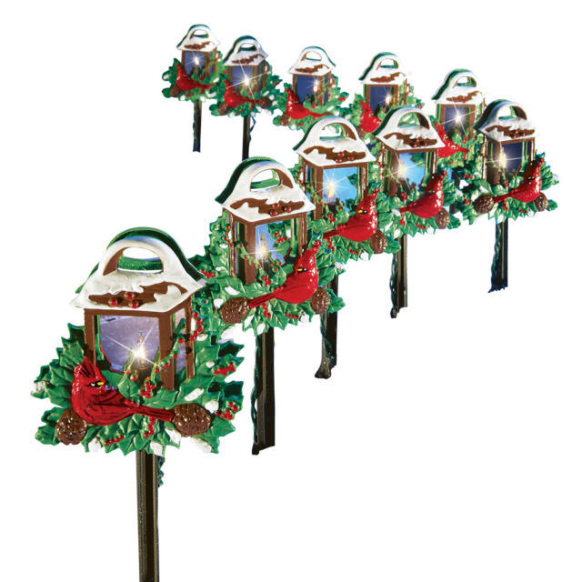 Christmas Cardinal Lantern Path Lights - Set of 10 by Collections ...