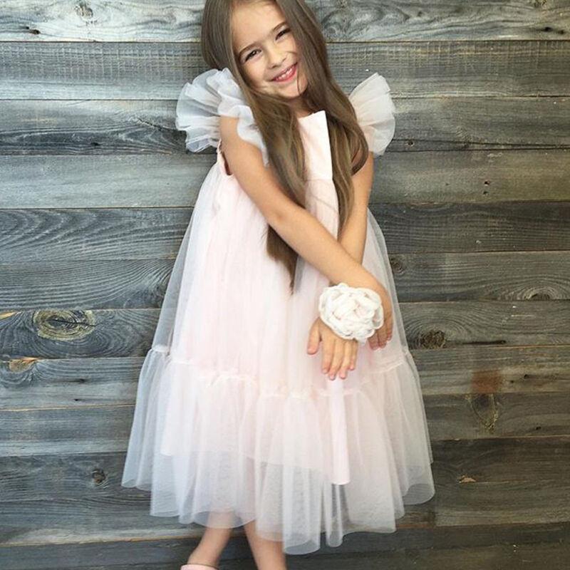 US Toddler Girl Princess Dress Kids Baby Party Wedding Pageant Tulle Tutu Dress