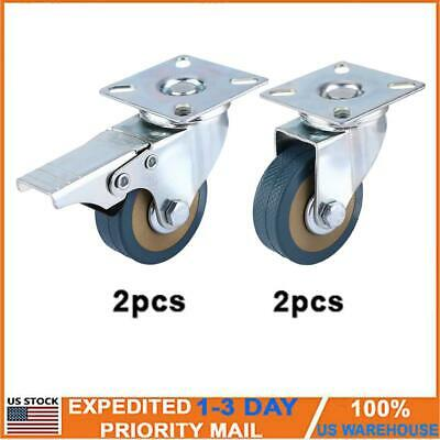 4pcs 260lbs 2 Caster Wheels Swivel Plate Combo For Shopping Carts Workbenches