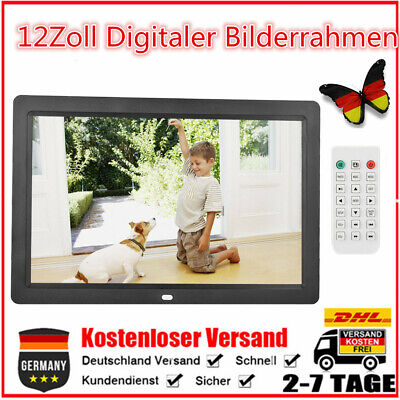 12Zoll Digitaler Bilderrahmen Wecker Player 2USB MP3/4 WMA 1280*800 HD Schwarz P