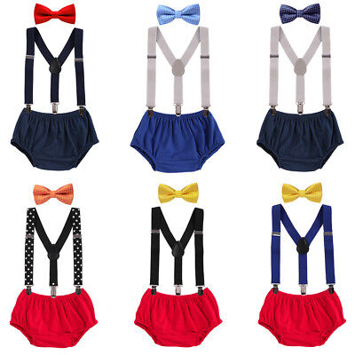 Baby Boy 1st Birthday Outfit (1st Birthday Baby Boy Outfit Bow Tie Suspender Pants Cake Smash Photo Shoot)