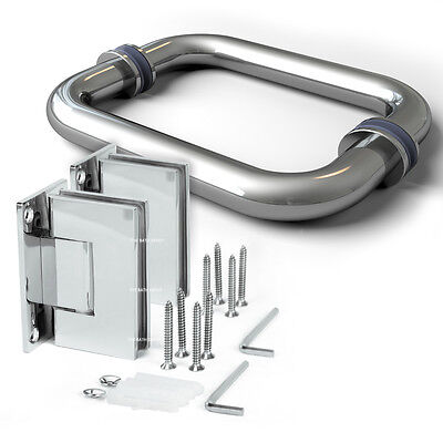 Ebullient SHOWER Stainless Steel Frameless Shower Door Hinge w/ Pull Handle Set