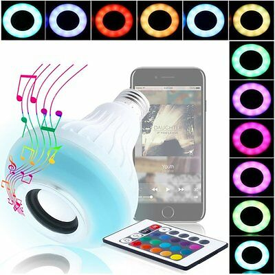 12W E27 LED RGB Wireless Bluetooth Speaker Bulb Light Music Playing Lamp +Remot